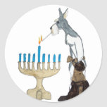 "chanukah ( Hanukkah ) card Classic Round Sticker<br><div class=""desc"">chanukah ( Hanukkah ) card schnauzer s lighting the menorah</div>"