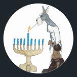 "chanukah ( Hanukkah ) card Classic Round Sticker<br><div class=""desc"">chanukah ( Hanukkah ) card schnauzer s lighting the menorah</div>"