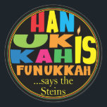 """Chanukah/Hanukkah """"HanukkahFunukka"""" Stickers Round<br><div class=""""desc"""">Chanukah/Hanukkah """"Hanukkah Is Funukkah"""" Stickers Round. Have fun using these stickers as cake toppers, gift tags, favor bag closures, or whatever rocks your festivities! Personalize by deleting """"... says the Steins"""" and adding your own words, using your favorite font style, size, and color. The background can be changed by choosing...</div>"""