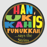 """Chanukah/Hanukkah &quot;HanukkahFunukka&quot; Stickers Round<br><div class=""""desc"""">Chanukah/Hanukkah &quot;Hanukkah Is Funukkah&quot; Stickers Round. Have fun using these stickers as cake toppers, gift tags, favor bag closures, or whatever rocks your festivities! Personalize by deleting &quot;... says the Steins&quot; and adding your own words, using your favorite font style, size, and color. The background can be changed by choosing...</div>"""