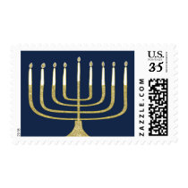 "Chanukah/Hanukkah Postage Stamp ""Menorah on Blue"""
