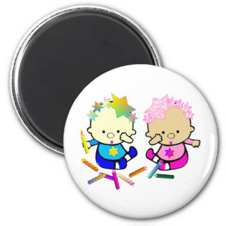 Chanukah Kids with Candles 2 Inch Round Magnet
