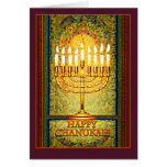 Chanukah Lights, Menorah in Stained Glass Window Card<br><div class='desc'>The menorah is ablaze with the lights of Chanukah which shine brightly against a background of abstract shapes that give the illusion of stained glass. This lovely design for the Jewish holiday of Chanukah seems to glow with a light of its own in warm tones of amber, yellow and gold,...</div>