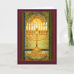 """Chanukah Lights, Menorah in Stained Glass Window Holiday Card<br><div class=""""desc"""">The menorah is ablaze with the lights of Chanukah which shine brightly against a background of abstract shapes that give the illusion of stained glass. This lovely design for the Jewish holiday of Chanukah seems to glow with a light of its own in warm tones of amber, yellow and gold,...</div>"""