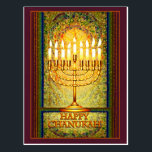 "Chanukah Lights, Menorah in Stained Glass Window Postcard<br><div class=""desc"">The menorah is ablaze with the lights of Chanukah which shine brightly against a background of abstract shapes that give the illusion of stained glass. This lovely design for the Jewish holiday of Chanukah seems to glow with a light of its own in warm tones of amber, yellow and gold,...</div>"