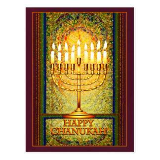 Chanukah Lights, Menorah in Stained Glass Window Postcard