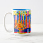 "Chanukah Lights Two-Tone Coffee Mug<br><div class=""desc"">Rich,  modulating color with all candles ablaze on a starlit night,  in a sea of blue—a dazzling gift for your favorite Hebrew School teacher,  rabbi,  or any coffee drinker you love!</div>"