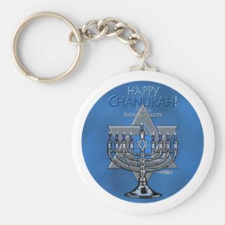 Chanukah - Menora y estrella de David felices Llaveros Personalizados