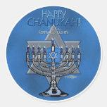 Chanukah - Menora y estrella de David felices Etiquetas Redondas