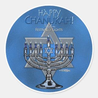 Chanukah - Menora y estrella de David felices Pegatina Redonda