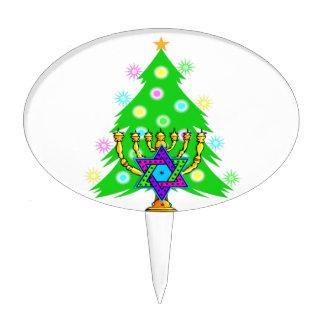 Chanukah Menorah Christmas Tree Cake Topper