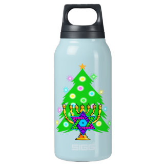 Chanukah Menorah Christmas Tree Insulated Water Bottle