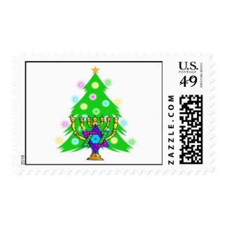 Chanukah Menorah Christmas Tree Stamps