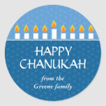 """Chanukah Menorah Classic Round Sticker<br><div class=""""desc"""">Today&#39;s Best Award - September 14, 2010 Light the menorah and share your joy on Chanukah. A photocard that showcases your loved ones crowned by a fully-lit Chanukah menorah. All text is customizable and sits against panels of royal and light blue with a subtle circle pattern. Available in alternate colors...</div>"""