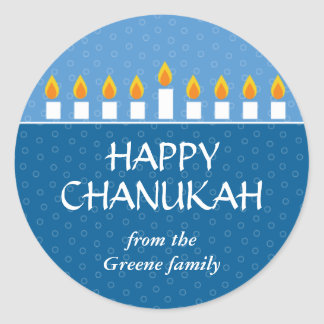 Chanukah Menorah Classic Round Sticker