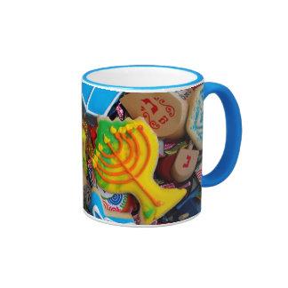 Chanukah Menorahs, Dreidels, Gelt Ringer Coffee Mug