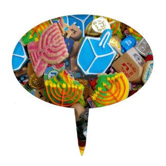 Chanukah Menorahs, Dreidels, Gelt Oval Cake Topper
