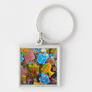 Chanukah Menorahs, Dreidels, Gelt Silver-Colored Square Keychain