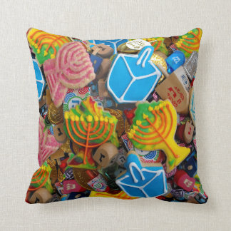 Chanukah Menorahs, Dreidels, Gelt Throw Pillow
