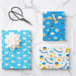 """Chanukah Mixed Set of Jelly Doughnut Patterns Wrapping Paper Sheets<br><div class=""""desc"""">Sometimes you just have a few items to wrap for Chanukah, and you don't want to buy a huge roll of Chanukah wrapping paper that will linger in your closet for years. This selection of three Chanukah wrapping paper sheets is perfect for wrapping a few gifts. Three separate sheets of...</div>"""