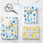 """Chanukah Mixed Set of Menorah & Candles Patterns Wrapping Paper Sheets<br><div class=""""desc"""">Sometimes you just have a few items to wrap for Chanukah, and you don't want to buy a huge roll of Chanukah wrapping paper that will linger in your closet for years. This selection of three Chanukah wrapping paper sheets is perfect for wrapping a few gifts. Three separate sheets of...</div>"""