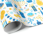 """Chanukah Party Blue Gold White Menorah Gelt Cookie Wrapping Paper<br><div class=""""desc"""">Add some holiday color and sparkle with this fun Chanukah wrapping paper design. Appropriate for children or adults, corporate or family gift wrap needs. There are coordinating gift bags, tissue paper, and ribbon for a complete Chanukah look, or you can mix and match with our other Chanukah wrapping paper patterns....</div>"""