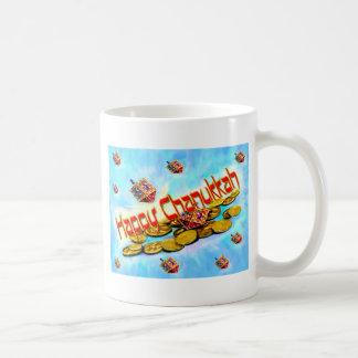 Chanukah que vuela Dreidels Taza De Café