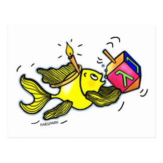Chanukah Sparky Fish - Funny Cute Cartoon Postcard