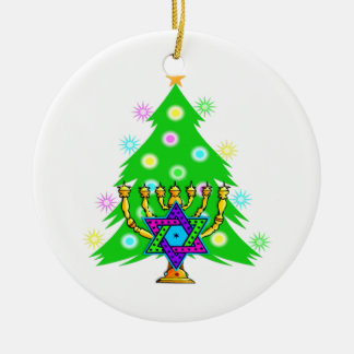 Chanukkah and Christmas Ceramic Ornament