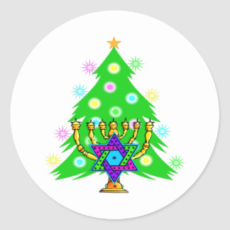 Chanukkah and Christmas Classic Round Sticker