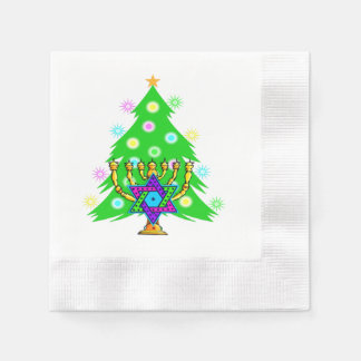 Chanukkah and Christmas Coined Cocktail Napkin