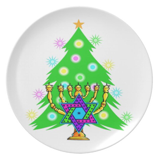 Chanukkah and Christmas Dinner Plate
