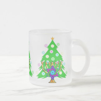 Chanukkah and Christmas Frosted Glass Coffee Mug