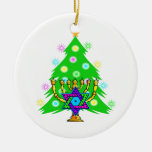 Chanukkah and Christmas Double-Sided Ceramic Round Christmas Ornament