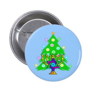 Chanukkah and Christmas Pinback Buttons