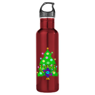 Chanukkah and Christmas Stainless Steel Water Bottle