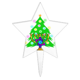 Chanukkah and Christmas Star Cake Topper
