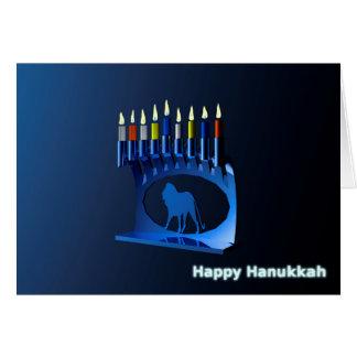 Chanukkah azul brillante Menorah Tarjeta De Felicitación