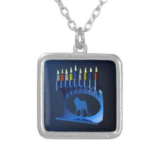 Chanukkah azul metálico Menorah Colgante Cuadrado