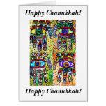 Chanukkah feliz - tarjeta de Judaica Hamsas del ba