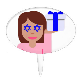 chanukkah hair flip emoji cake topper