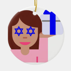 Chanukkah Hair Flip Emoji Ceramic Ornament at Zazzle
