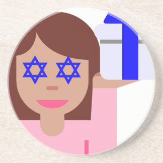 chanukkah hair flip emoji coaster