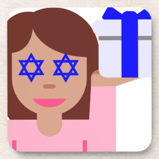 chanukkah hair flip emoji drink coaster