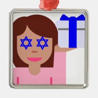 chanukkah hair flip emoji metal ornament