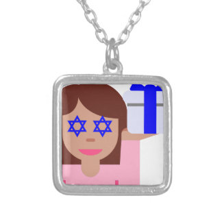 chanukkah hair flip emoji silver plated necklace