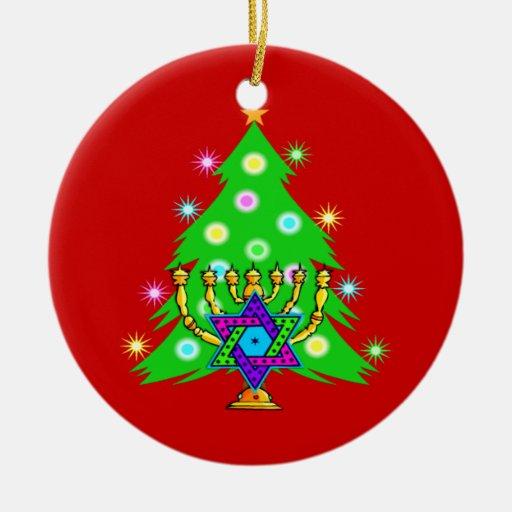 Chanukkah y navidad adorno navideño redondo de cerámica