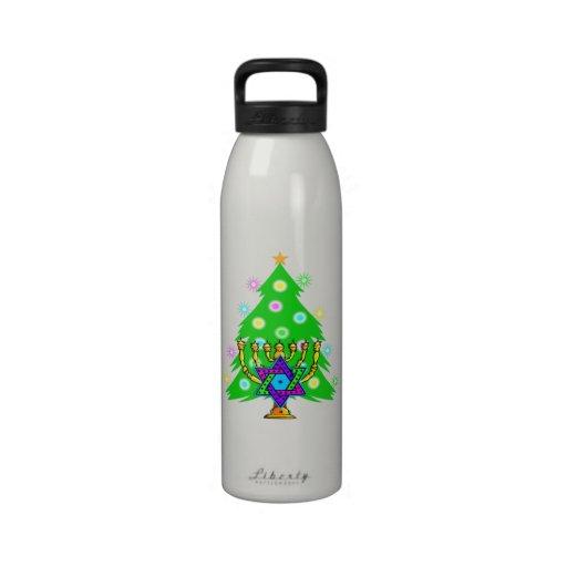Chanukkah y navidad botellas de agua reutilizables