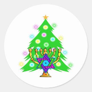 Chanukkah y navidad pegatina redonda