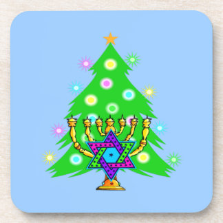 Chanukkah y navidad posavasos de bebida